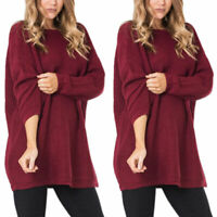 Women Knitted Loose Sweater Long Sleeve Solid Pullover Baggy Jumper Blouse Tops