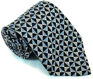 "Platinum Mens Tie Necktie 100% Silk 62"" 4"" USA Geometric Black Blue Silver"