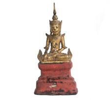 Burma 20. Jhd. Vergoldete Lack / Holzfigur des Gekrönten Buddha Burmese Lacquer
