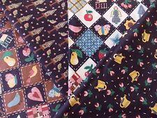 WtW Estate Fabric Quilt Craft Stash Lot 4 Bird Garden Floral Heart Country Folk