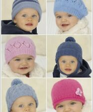 KNITTING PATTERN FOR BABY'S / CHILDRENS HATS X 6 DESIGNS.BIRTH - 6YRS (HS49)