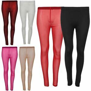 Womens Mesh See Through Skinny Stretchy Full Ankle Length Leggings 8-14