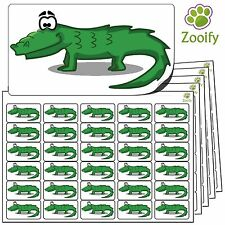 480 Crocodile Stickers (38 x 21mm)Quality Self Adhesive Animal Labels By Zooify.