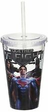 Justice League Plastic Cold Cup with Lid and Straw, 16-Oz Wonder Woman Batman