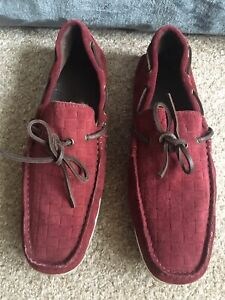 Mens burgundy Red Suede Loafers Mocassins Made in Portugaal UK 9