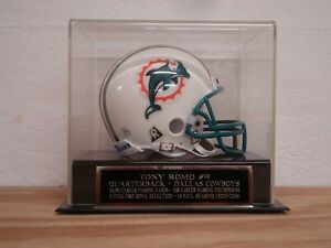 Tony Romo Football Mini Helmet Display Case With A Dallas Cowboys Nameplate