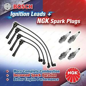 4 x NGK Spark Plugs + Bosch Leads Kit for Hyundai Accent LS MC Excel X3 Getz TB