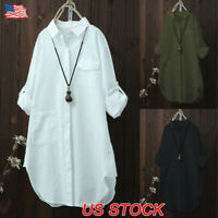 Women's Oversized Casual Solid Tops Long Sleeve Shirt Blouse Button Down Tops US
