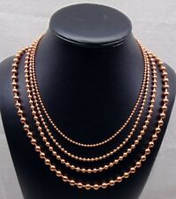 "4 SOLID COPPER BALL CHAIN Necklaces 24"" ~ 4 different sizes from 2.4m to 6.3mm"