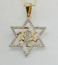14K Yellow Gold Diamond Star of David with centered Hamsa Pendant