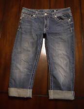Miss Me Women's 29 Boyfriend Capri Jeans Embellished Rhinestone Pockets