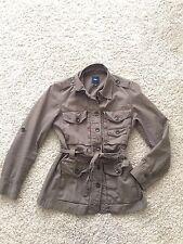 GAP Women's Utility Military Jacket Belted Olive Green S P khaki tan safari