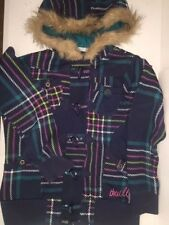 Women's ONEILL Toggle Jacket Size XL Blue Multi-Color Plaid Fur Collar