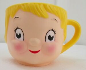 1976 Collectable Cup Campbells Soup Girl Child Styrene Mug Yellow
