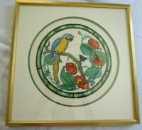 """Parrot Bird Completed Framed Cross Stitch Embroidery 17"""" X 17"""" Picture, EXQUSITE"""