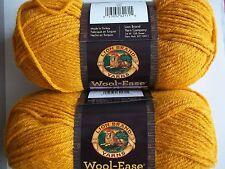 Lion Brand Wool-Ease wool blend yarn, Gold, lot of 2 (197 yds each)