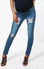 Boohoo Maternity Jeans Over Bump Ripped Skinny size 10