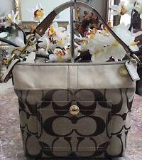 Coach Signature Khaki Cream Stripe Shoulder Handbag Purse 11957 EUC