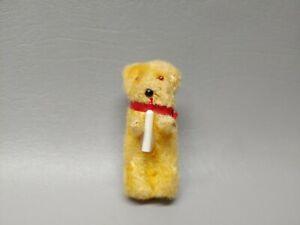 "Antique miniature mini teddy bear red plastic collar 3"""