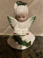 Vintage Lefton Beautiful Christmas Angel W/Holly Holding Hymnal # 6394
