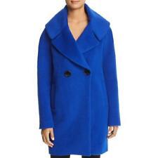 Elie Tahari Womens Shiloh Blue Winter Double-Breasted Long Wool Coat S BHFO 6935