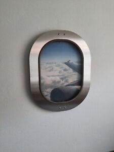 Original Airbus A340 Fenster in Edelstahl Rahmen oval Bilderrahmen Bild Flugzeug