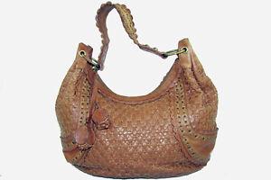 Isabella Fiore Woven Brown Leather Hobo Shoulder Bag Handbag