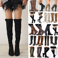 Damen Schenkelhoch Boots Overknee Blockabsatz Schuhe Stiefel Stiefeletten Pumps