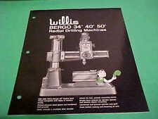 "1971 INDUSTRIAL TOOL BROCHURE WILLIS BERGO 34""/40""/50"" RADIAL DRILLING MACHINE"