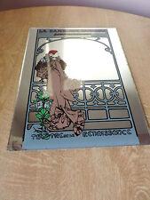 Vintage pictorial mirror; Alphonse Mucha for La Dame Aux Camelias art nouveau J9