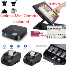 New mini Fanless Pc, 2 x printers Pos Point of Sale System Combo Kit Restaurant
