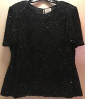 """Joseph Ribkoff Gala"" Brand *Vintage* Black Beaded Silk Top Sz XL~ Made In India"