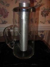 MID CENTURY EXTCHED GLASS COCKTAIL MARTINI PITCHER SHAKER ICE INSERT CHROME LID