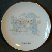 1983 Precious Moments Collector'S Plate Of The Month December Gold Rim Christmas