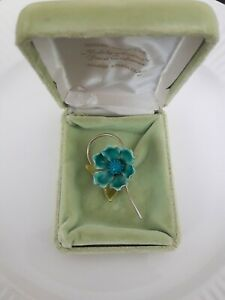 Vintage Pakula Hand Enameled Turquoise & Gold Tone Flower Blossom Pin Brooch