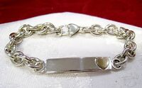 "925 STERLING SILVER AND 14K YELLOW GOLD HEART ID CHAIN BRACELET 7.5"" LONG"