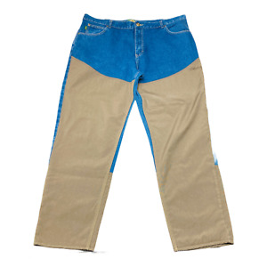 Cabelas Mens Blue Brown Solid Outdoor Gear Cotton Denim Hunting Pants Size 44x34