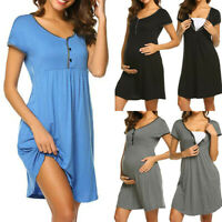 Pregnancy Women Summer Maternity Solid Mom Nursing Short Sleeve Dress Sleepwear