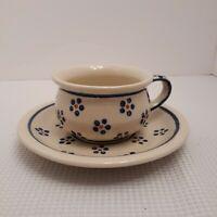 Boleslawiec Pottery Cup Saucer Coffee Tea Blue Floral Potbelly Cup mug