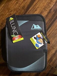 ARCTIC ZONE INSULATED LUNCH BOX  BLACK & Teal ZIPPERLESS LID BUILT IN LUNCH...