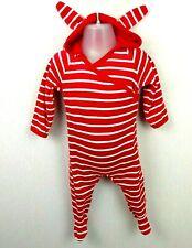 Baby Boy/Girl Polarn O. Pyret Red Striped Plush Babygrow Sleepsuit 2-4 Months