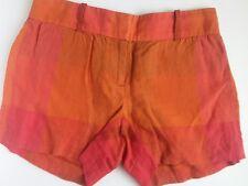 J Crew Women's Linen Shorts Orange Pink Plaid  Flat Front Sz 0
