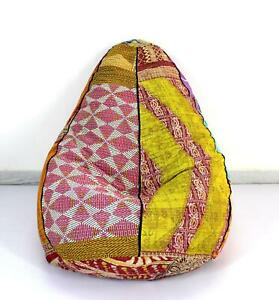 One Of A Kind Handmade Cotton Floral Vintage Kantha Bohemian Ottoman Bean Bag