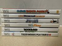 Nintendo Wii Games Bundle - Tiger Woods 10, Rock Band, Super Paper Mario, MORE!