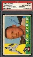 Tom Acker PSA DNA Coa Autograph 1960 Topps Hand Signed