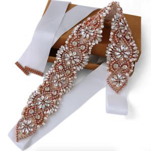 Wedding Belt Bridal Belts Rose Gold Rhinestone Sash Bridal Sash Pearl Sashes