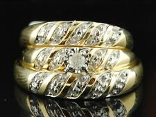 Diamond Trio Set 14K Yellow Gold Matching Engagement Ring Wedding Band 0.07 Ct.