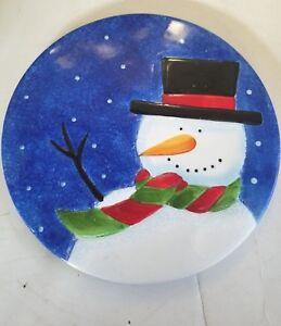 Snowman Ceramic Decorative Plate by The Sakura Table Design Snowy Day Trivet