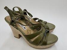 0ada9ca7e575 American Eagle Block High Heel Buckle Sandal Shoe Women Size 10 Green