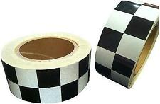 NEW REFLECTIVE GRADE BLACK WHITE CHEQUER TAPE 50mm x 10m Decal sticker
